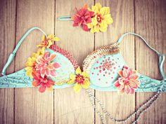 Tropical Goddess Rave Bra by TheLoveShackk on Etsy, $75.00