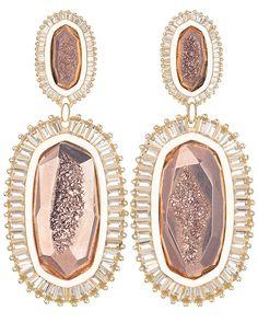 Kaki Baguette Earrings in Rose Gold Drusy - Kendra Scott Jewelry.