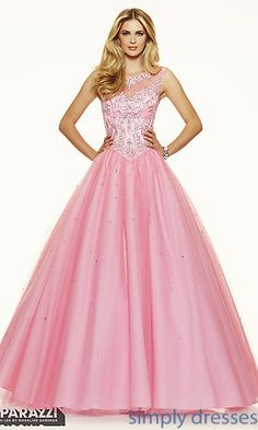 Ball Gown Style Open Back Formal Gown by Mori Lee