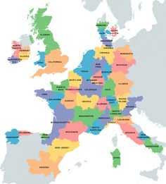 Map Us States Overlaid On Areas Of Europe With Equal Population