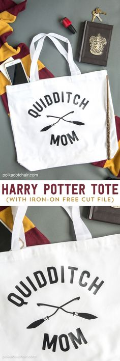 """DIY """"Quidditch Mom"""" tote bag project. Free cut file to make this on your silhouette or cricut!"""