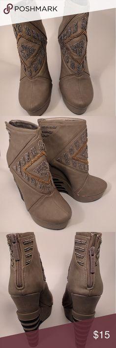 Gianni Bini Wedge Booties Gianni Bini Wedge Heeled Ankle Booties in taupe/tan Gianni Bini Shoes Ankle Boots & Booties