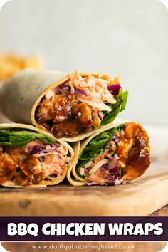 These Homemade BBQ Chicken Wraps are truly bursting with flavour Served with a homemade tangy coleslaw lunch has never looked so good uk Lunch Snacks, Lunches And Dinners, Homemade Coleslaw, Homemade Bbq, Homemade Wraps, Homemade Lunch Ideas, Lunch Ideas With Chicken, Chicken Recipes For Lunch, Good Lunch Ideas