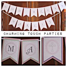 """Custom triple card stock layered pink, mint and ivory """"God Bless Name"""" banner (You choose colors) by CharmingTouchParties on Etsy"""