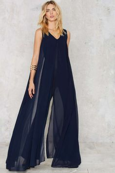 Lavish Alice Float On Flare Jumpsuit - Navy - Rompers + Jumpsuits | Party Shop | Best Sellers | Going Out | Midi + Maxi