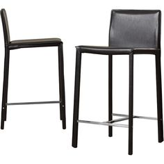 """The  24"""" Bar Stool (Set of 2) has a sleek design that complements your living space in a sophisticated way. This collection set includes two bar stools that are available in different finishes; choose according to whichever suits your decor the best. Made from premium quality materials, it is sturdy and durable, as well as reinforced with the four strong legs. It is upholstered with crisp leather for cushioned seating. The  24"""" Bar Stool (Set of 2) gives support for your back and fe..."""