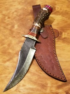 "Antler Damascus Knife Large 5.5"" Blade (A333)"