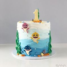 [New] The 10 Best Dessert Ideas Today (with Pictures) - Baby shark . Shark Birthday Cakes, Baby Boy 1st Birthday Party, 1st Birthday Cake Topper, Birthday Ideas, Shark Party Decorations, Shark Cake, Baby Shark, Dessert Ideas, Birthdays