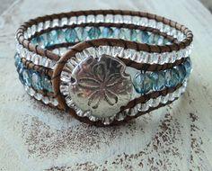 Beaded Cuff Bracelet, Blue and Silver Cuff, Cowgirl Jewelry, Country Western Style, Boho Bohemian, Leather Wrap Bracelet, Sand dollar, Beach...