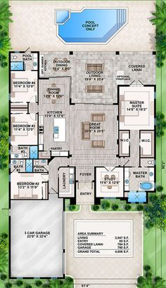 Coastal Home Plans - Crestview Lake Love the Plan - move to basement, move garage to spot House Layout Plans, New House Plans, Dream House Plans, House Layouts, House Floor Plans, My Dream Home, Dream Houses, Sims 4 Houses Layout, Florida House Plans