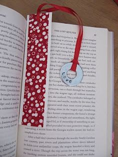 Homeade book mark out of the dividers in a box of tea, scrapbook paper, ribbon and a washer (stamped)