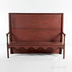 Red-painted Settle Bench by Skinner - 1451275 Brown Paint, Red Paint, New England Furniture, Early American Homes, Benches For Sale, Pine Chests, Brass Lantern, Drop Leaf Table, Hand Painted Furniture