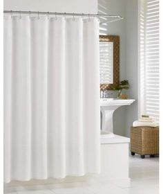 "Kassatex® Hotel Shower Curtains are made of Cotton. Feel entirely renewed by just setting foot in your bathroom. The Hotel collection shower curtain is that element you have been looking for to achieve that ""spa"" look in your bathroom. Made in China. Hotel Shower Curtain, Fabric Shower Curtains, Curtain Fabric, Natural Showers, Chevron, Lino Natural, White Shower, Beautiful Curtains, Shower Liner"