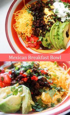mexican breakfast bowl pinterest Mexican Breakfast Recipes, Low Carb Breakfast, Breakfast Bowls, Breakfast Ideas, Mexican Recipes, Breakfast Sandwiches, Breakfast Pizza, Breakfast Casserole, Avacado Breakfast