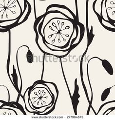 Seamless pattern with hand drawn poppies. Stylish graphic flowers. Stylized floral monochrome background.