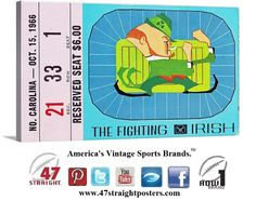 1966 #NotreDame #Irish #collegefootball ticket art. Notre Dame won the '66 National Title. #ND #47straight #row1brand #vintage #sports #art #gameroom #mancave #home #decor #gifts #art