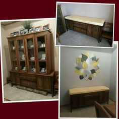 Repurpose an old china hutch base by converting it to a modern upholstered seating area!