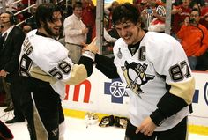 Letang and Crosby have a secret hilarious handshake.