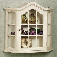 Amelia Whitewash Wall Curio Cabinet