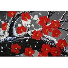 'Winter Plum' Hand Painted 5-piece Oil Canvas Art Set - 13101983 - Overstock - The Best Prices on The Lighting Store Gallery Wrapped Canvas - Mobile