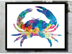 Crab Watercolor Art Print Sea Painting Crab Poster Beach decor Sea Watercolor Home decor Nautical Art Crab Illustration Sea wall decor
