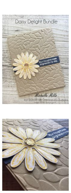 Michelle Mills - Independent Stampin' Up! FB: Hello Day Cards Daisy Delight Bundle - get the coordinating stamp set and punch at off. Bling it up with some Faceted Gems and Wink of Stella. Handmade Birthday Cards, Greeting Cards Handmade, Daisy Delight Stampin' Up, Scrapbook Cards, Scrapbooking, Hand Stamped Cards, Stampinup, Embossed Cards, Stamping Up Cards