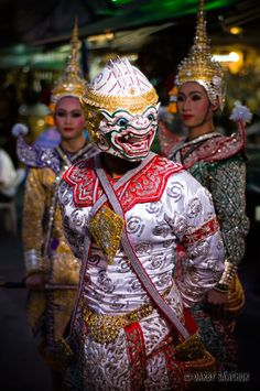 Costumed Thai dancers performing a Khon dance on Khao San Road in Bangkok, Thailand.