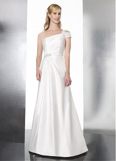 DRAMATIC SATIN TULLE A-LINE ONE SHOULDER NATURAL WAIST WEDDING DRESS WITH BEADED LACE APPLIQUES
