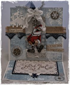 Gunns Papirpyssel Christmascard, steampunk, staffeli kort, staffeli card, jul, julekort, christmas, scrapbooking, scrapping, make it crafty