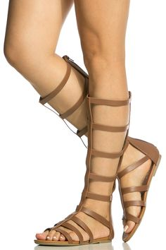 d609028555ee Tan Faux Leather Caged Gladiator Sandals