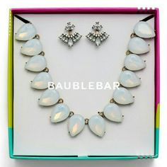 NWT Baublebar Petal Power Necklace and Ear Jackets Gorgeous opal Iridescent statement necklace and crystal ear jackets in gift box.  Nordstrom tag attached. Baublebar Jewelry Necklaces