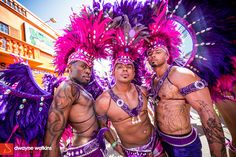 Party time at Trinidad carnival where men show off their finest warrior inspired outfits.