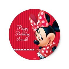 (Minnie Red and White Birthday Classic Round Sticker) #Birthday #Disney #DisneyBirthday #GirlBirthday #Kids #Minnie #MinnieBirthday #MinnieMouse #Party is available on Famous Characters Store   http://ift.tt/2aU3nnK