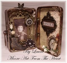 Moore Art From The Heart (maybe two pictures of a loved one, young and now, and period decorations)