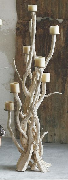 Roost Driftwood Candelabra, Standing. Select pieces of driftwood are repurposed…