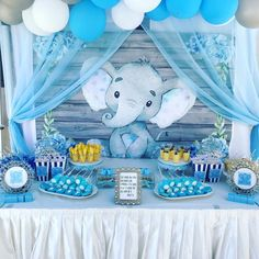 Elephant inspired for this amazing baby shower! Baby Elephant inspired for this amazing baby shower! Baby Elephant inspired for this amazing baby shower! Elephant Baby Shower Centerpieces, Baby Shower Decorations For Boys, Boy Baby Shower Themes, Baby Shower Balloons, Baby Shower Fun, Baby Shower Table, Dumbo Baby Shower, Juegos Baby Shower Niño, Regalo Baby Shower