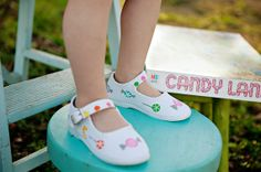 So sweet and yummy! Candy and lollipops adorn our precious maryjane shoes colored in bright fun colors #timelesstreasure
