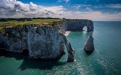 Herunterladen hintergrundbild etretat, küste, normandie, die klippen, den englischen kanal, bogen, frankreich
