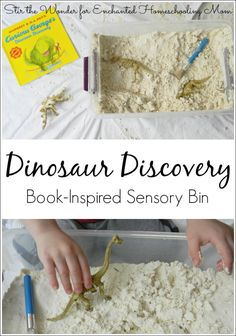 ROAR! Dig into some dinosaur sensory play fun with this sensory bin inspired by the book Curious George Dinosaur Discovery.
