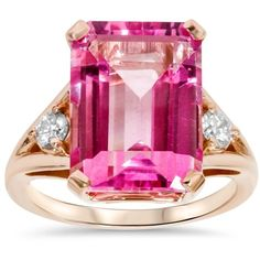 Pompeii3 18x13 Pink Topaz & 1/4 Ct Diamond Ring 14k Rose Gold (€320) ❤ liked on Polyvore featuring jewelry, rings, white, pink gold diamond rings, 14k ring, white ring, red gold ring and pink topaz ring