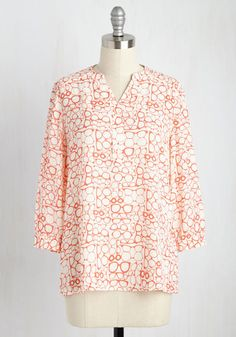 Waiting For My Prints Top in Glasses. By donning this white top, you are able to close the storybook on your search for the perfect blouse.  #modcloth