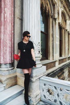 mini skirt + thigh high boots = love