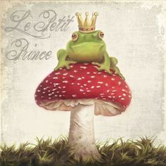 XL Kinder Bild Frosch K nig gr n Froschk nig Krone Pilz rot Shabby Thomas Rolly Frosch Illustration, Frog Pictures, Frog Art, Mushroom Art, Frog And Toad, Whimsical Art, Painted Rocks, Watercolor Paintings, Watercolors
