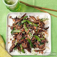Tangerine Beef Stir Fry with Scallions, Chilies & Snap Peas Asian Recipes, Beef Recipes, Cooking Recipes, Healthy Recipes, Healthy Eats, Healthy Foods, Tangerine Recipes, London Broil Recipes, Dinner Dishes
