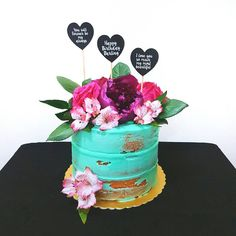 birthdaycake floral teal cake @solafly