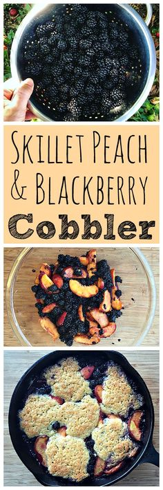 The perfect summertime dessert! This skillet peach and blackberry cobbler is easy to make and delicious!