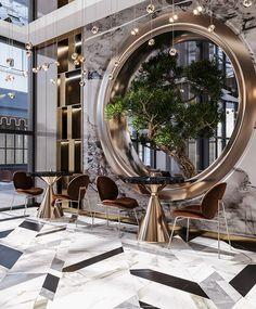 Interior of Hotel in Luxury Modern on Behance Hotel Lobby Design, Modern Hotel Lobby, Luxury Interior Design, Interior Architecture, Luxury Hotel Design, Luxury Hotels, Best Interior, Best Hotels, Cafe Design