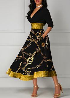 party dress for women Gold Chain Print Glitter Printed Midi Dress V Neck Midi Dress, The Dress, Sheath Dress, Trendy Dresses, Women's Fashion Dresses, Dresses Dresses, Cheap Dresses, Vestido Lady Like, Black Dresses Online