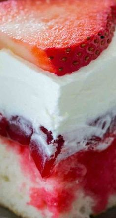 Strawberry Poke Cake is made with white cake, soaked with a mixture of white chocolate strawberry sauce, topped with strawberry pie filling and creamy whipped cream. Strawberry Poke Cakes, Strawberry Cake Recipes, Poke Cake Recipes, Dessert Recipes, Strawberry Sauce, Dessert Bread, Cookie Desserts, Holiday Desserts, Delicious Desserts