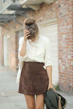 skirt, bag, shirt, hair